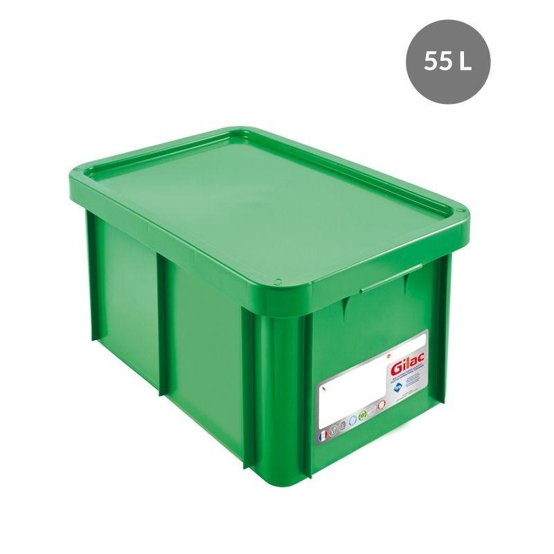 Bac + couvercle 55 litres coloris vert antibactérien - gilac (photo)