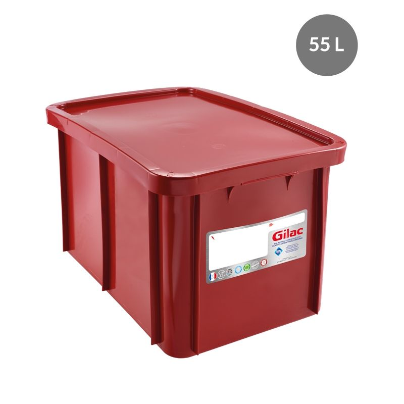Bac + couvercle 55 litres coloris rouge antibactérien - gilac (photo)