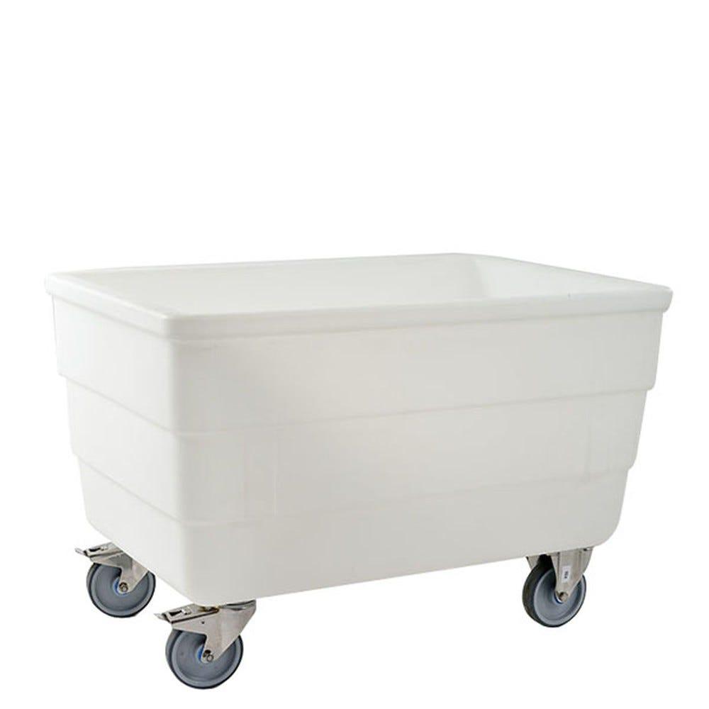 Bac autoporteur 310 litres coloris blanc avec roues inox (photo)
