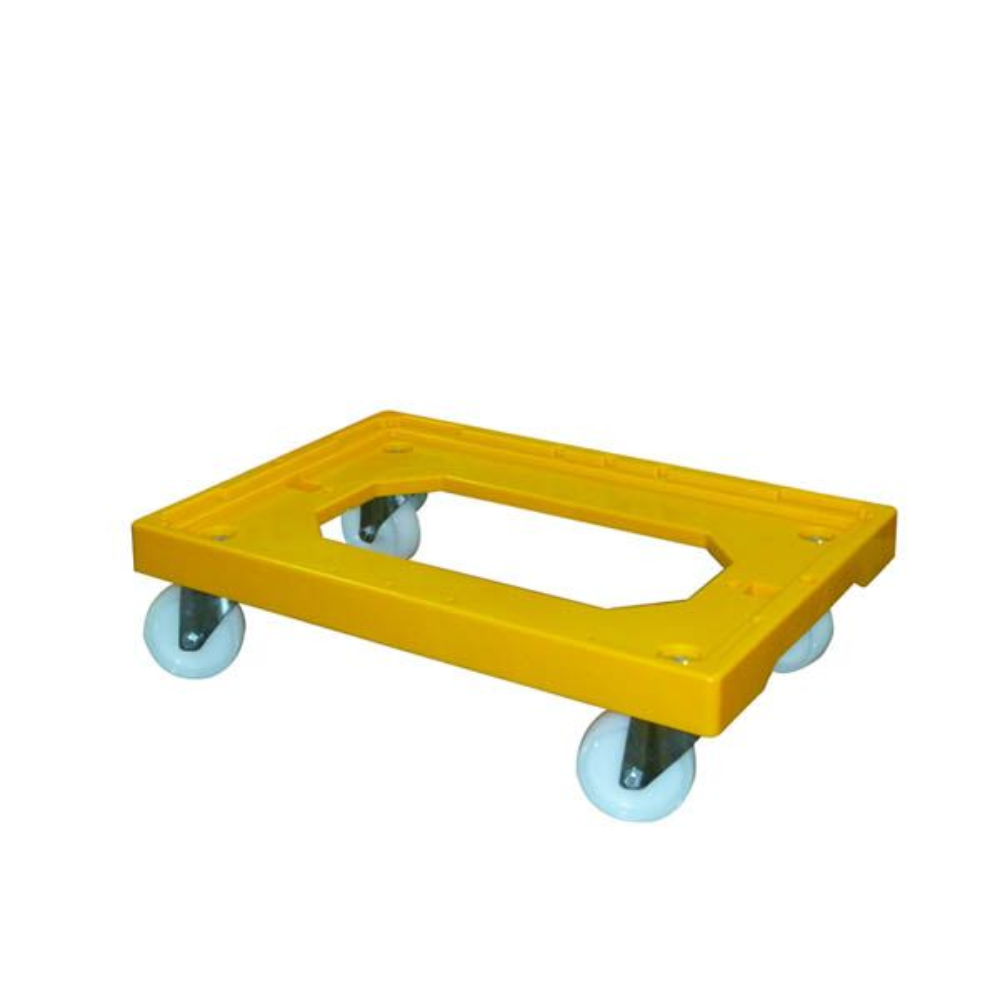 Socle jaune 4 roues pivotantes chape acier - gilac