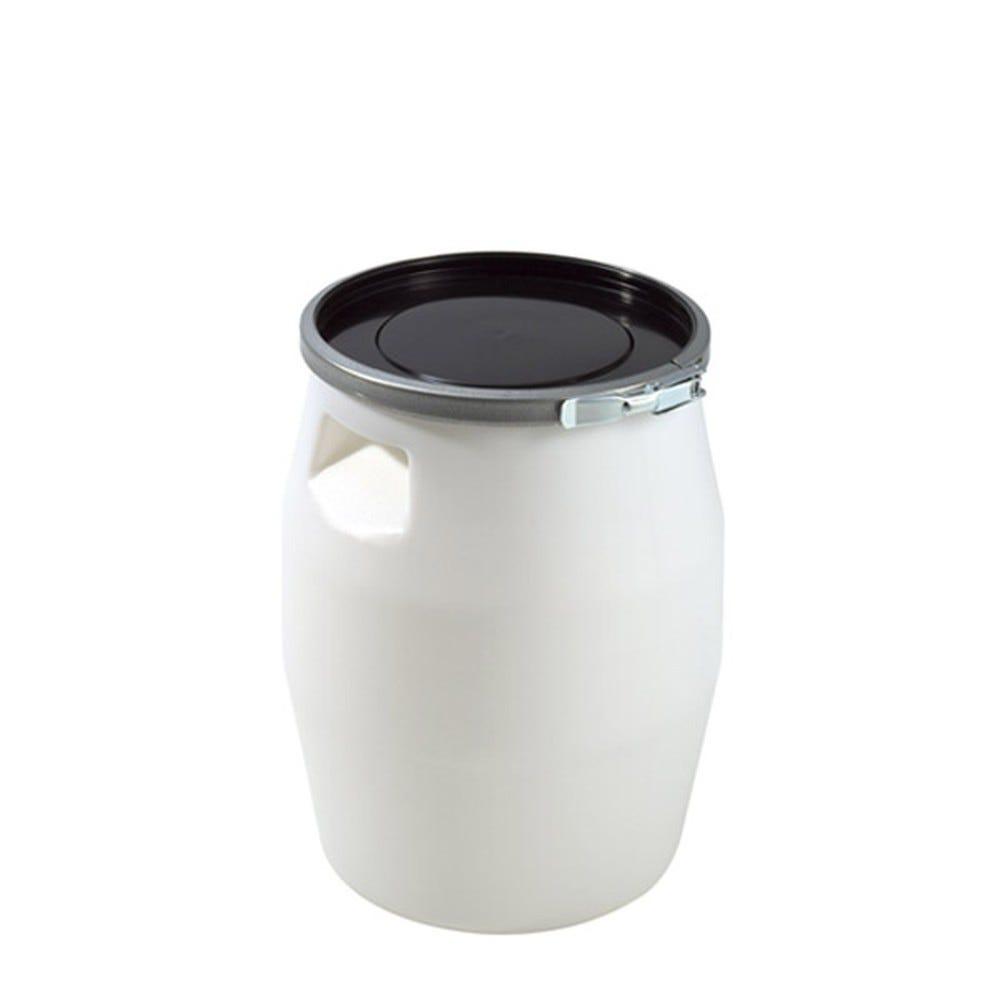 Fût 50 litres avec genouillère métal et couvercle noir - gilac