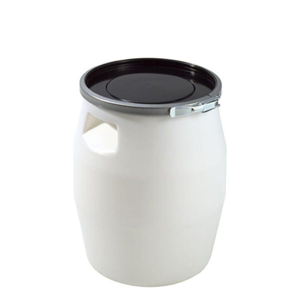 Fût 100 litres avec genouillère métal et couvercle noir - gilac