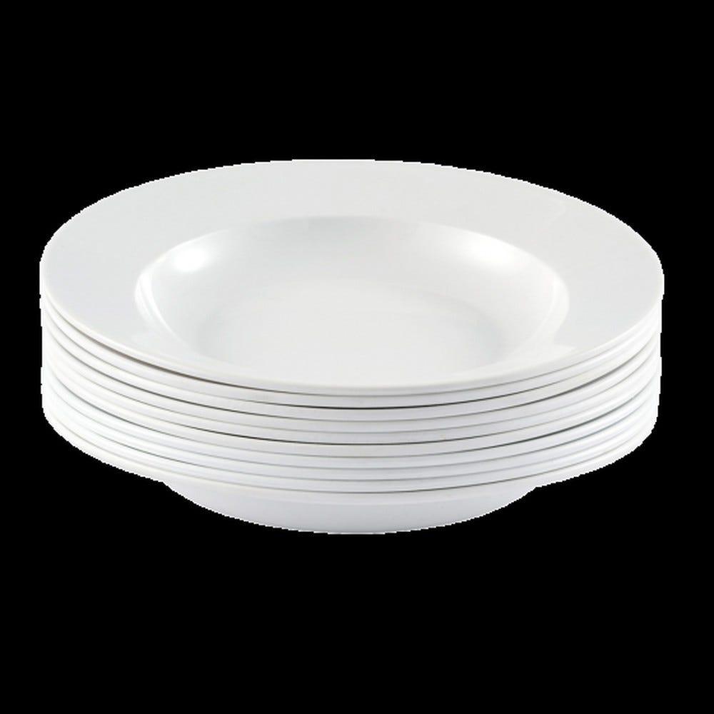 Assiette coloris blanc réutilisable plastique dur - par 10 - gilac