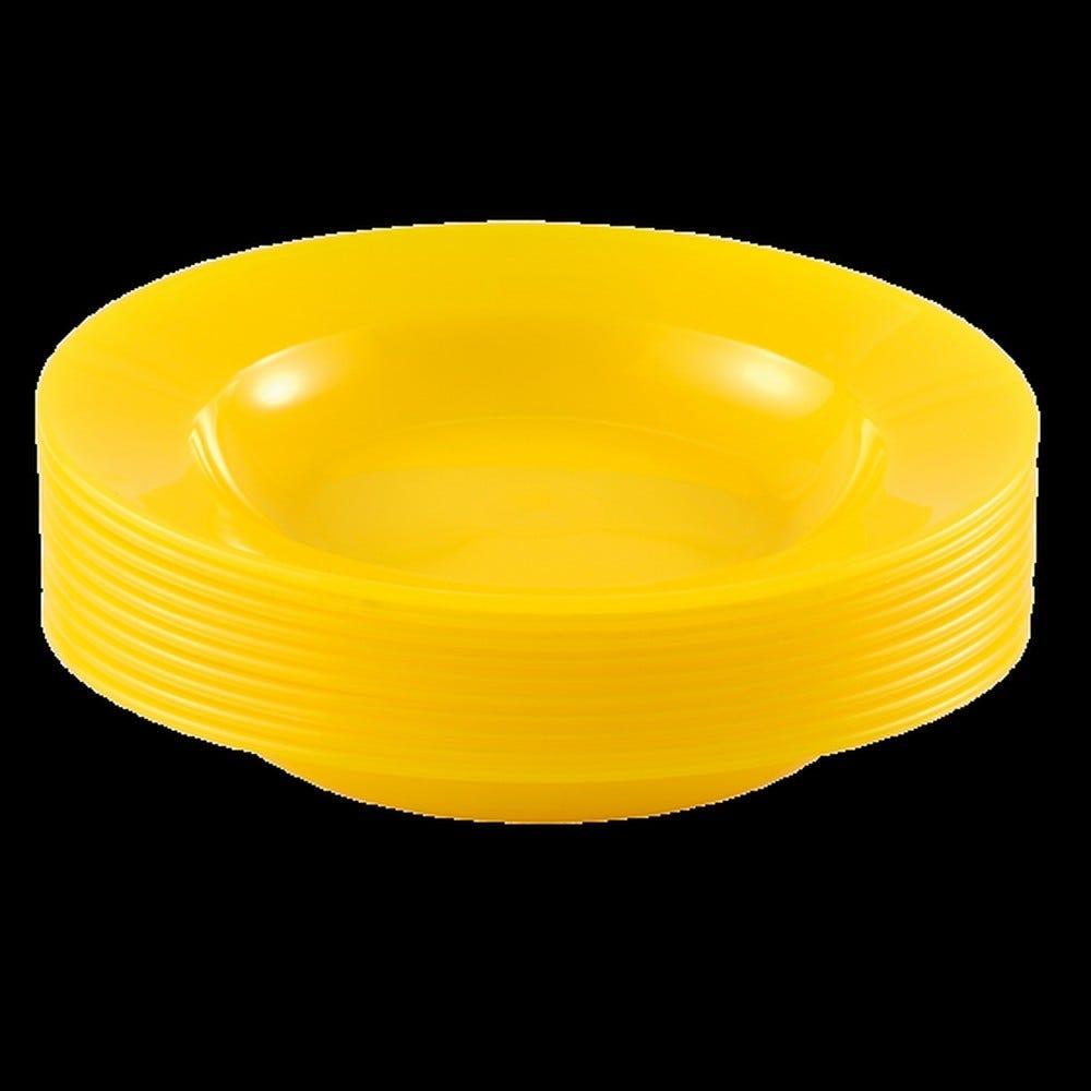 Assiette coloris jaune réutilisable plastique dur - par 10 - gilac