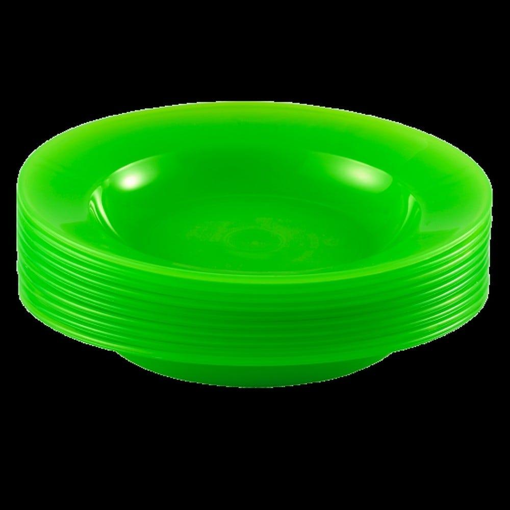 Assiette coloris vert réutilisable plastique dur - par 10 - gilac