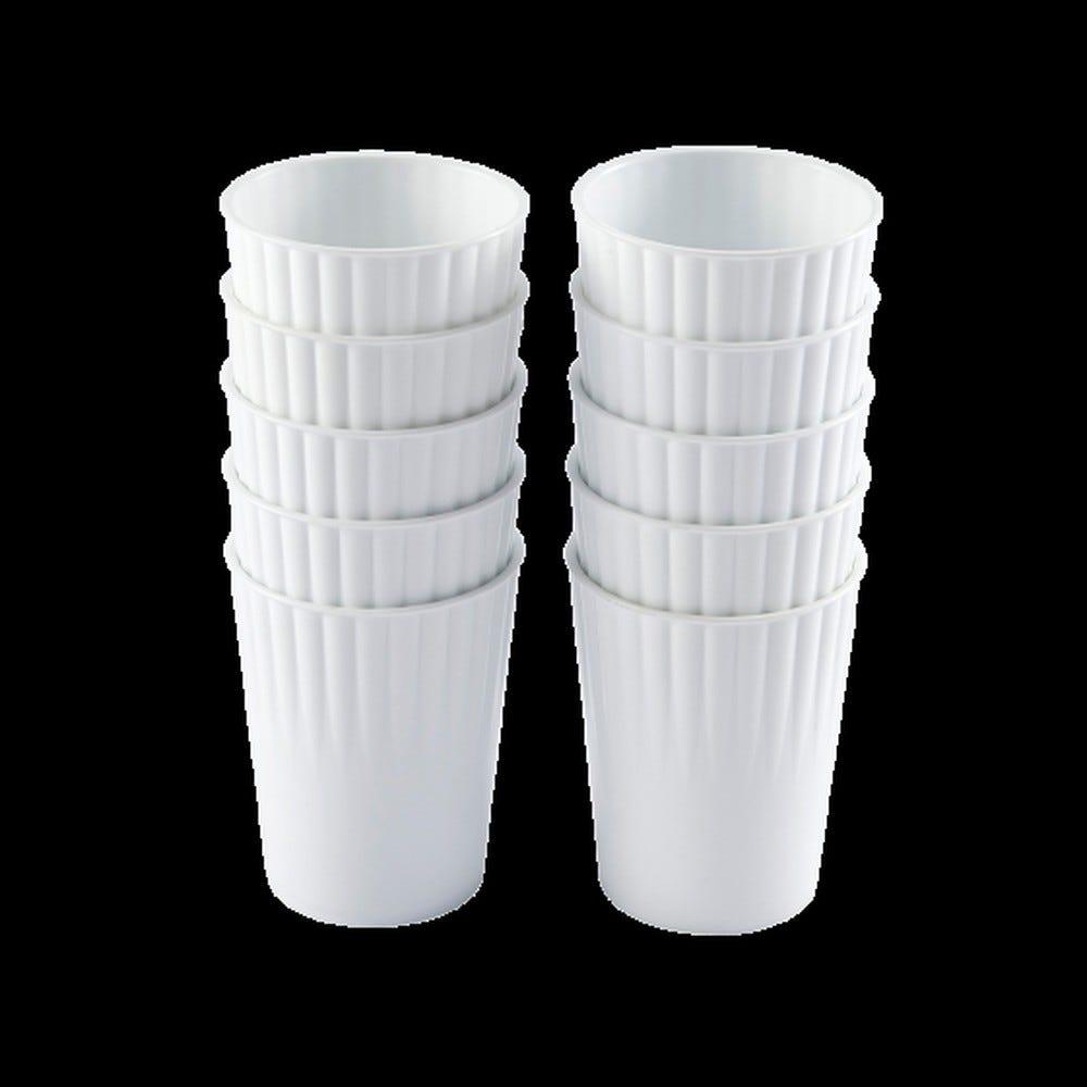 Gobelet 22 cl coloris blanc réutilisable plastique dur - par 10 - gilac