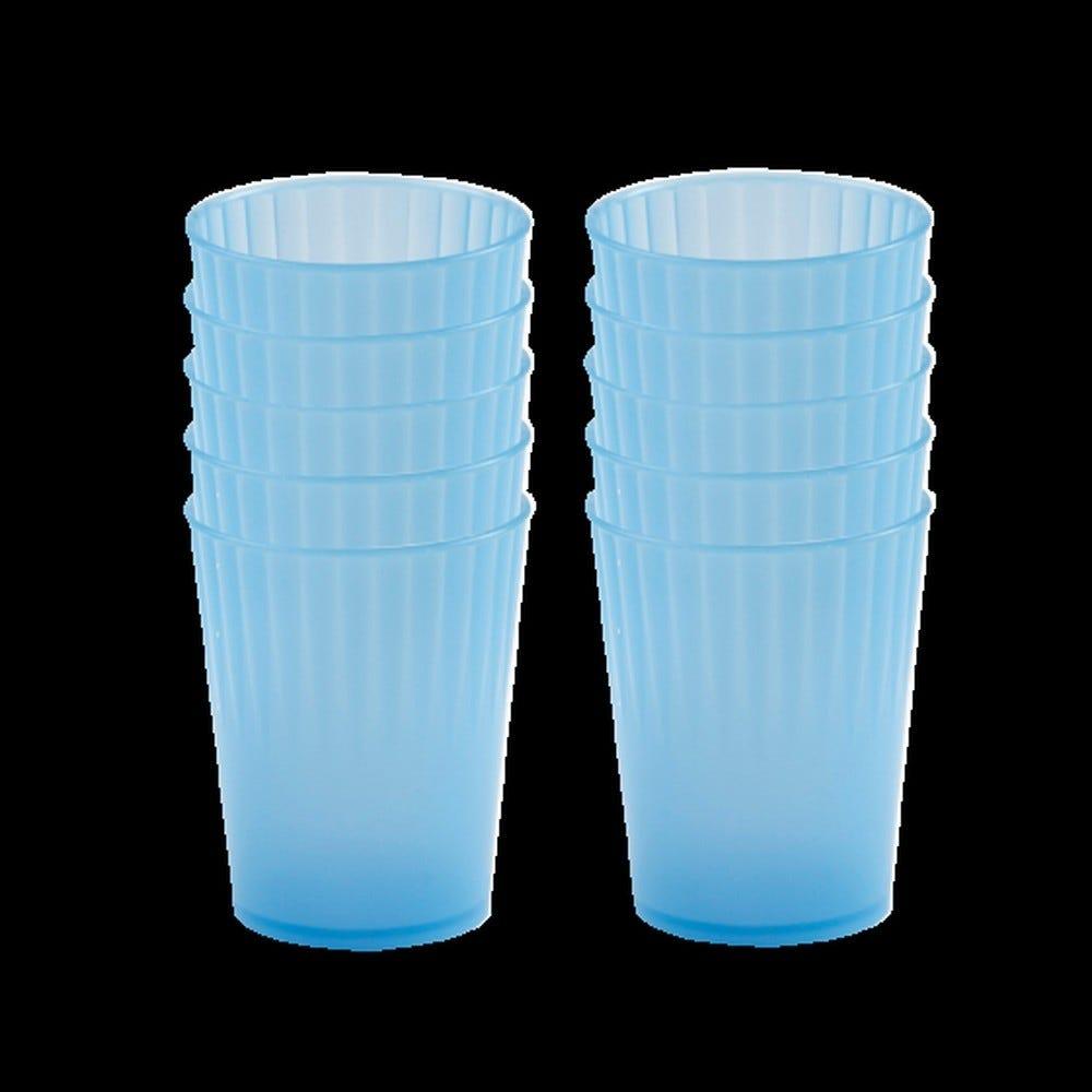 Gobelet 22 cl coloris bleu réutilisable plastique dur - par 10 - gilac