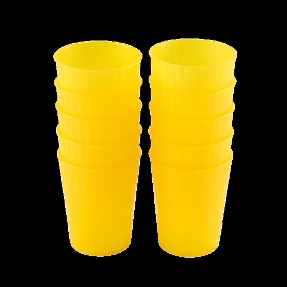 Gobelet 22 cl coloris jaune réutilisable plastique dur - par 10 - gilac
