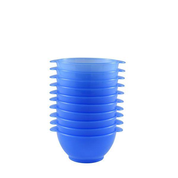 Bol à anses 50 cl coloris bleu réutilisable plastique dur- par 10 (photo)