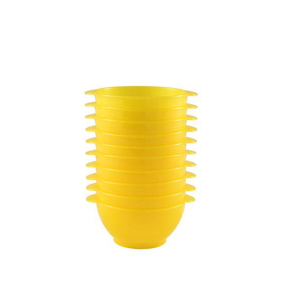 Bol à anses 50 cl coloris jaune réutilisable plastique dur- par 10 (photo)