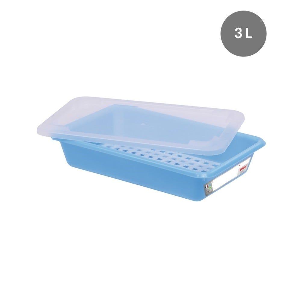 Bac plat 3 l haccp + couvercle + grille - bleu - gilac (photo)