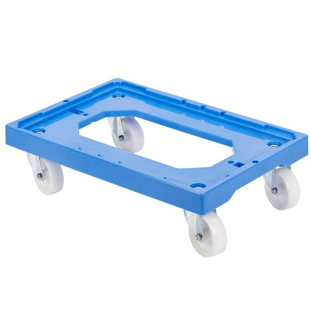 Socle rouleur 4 roues pivotantes - chape acier - bleu (photo)