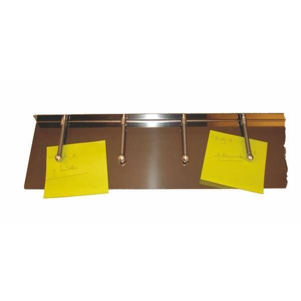 Barre porte-fiches inox 12 clips - 100 cm (photo)