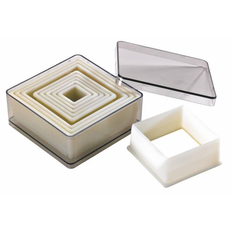 Boite 9 découpoirs carrés unis polyglass (photo)