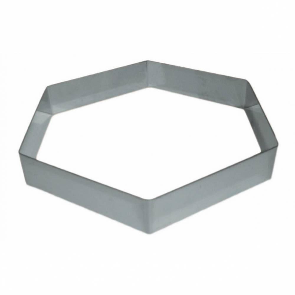 Hexagone entremet inox de 14 hauteur 3,5 cm