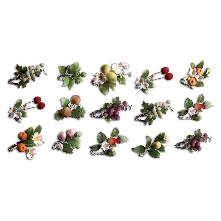 Assortiment 20 bouquets de fruits de hauteur 7 cm (photo)