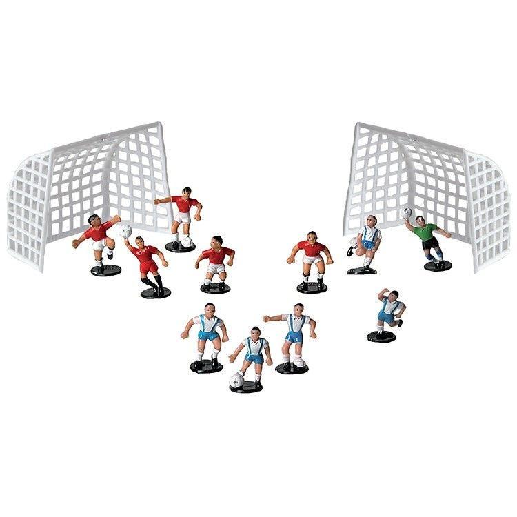 11 joueurs de foot bleu + 2 cages (photo)