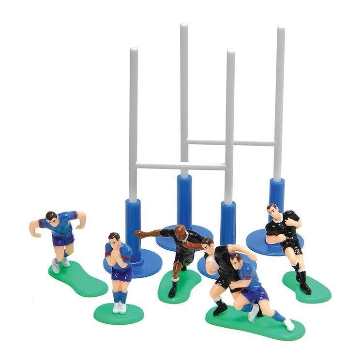 6 joueurs de rugby + poteaux (photo)
