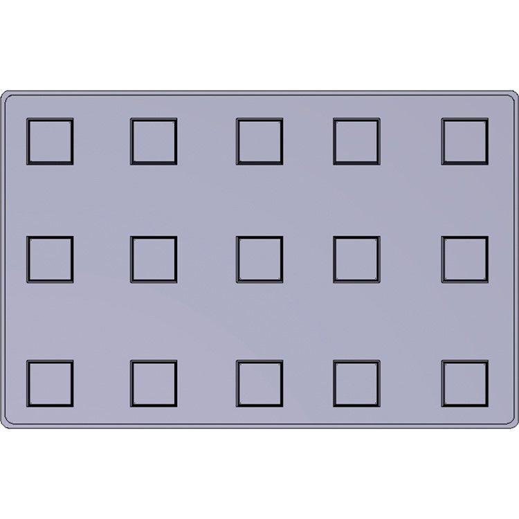 Moule silicone premium 15 alvéoles carrés hauts