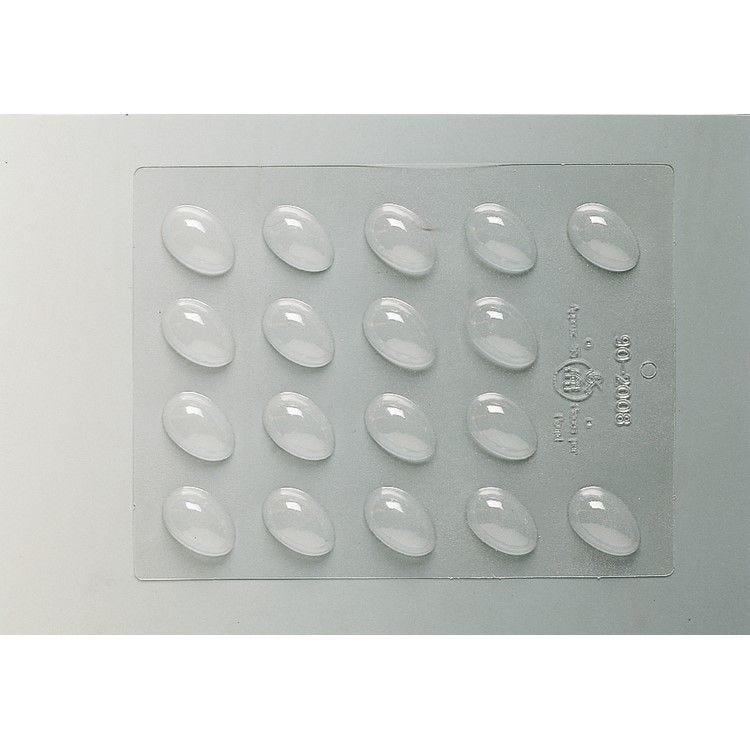 Plaque de 240 x 185 mm 18 demi-coquilles unies 36 x 23 x h 12 mm