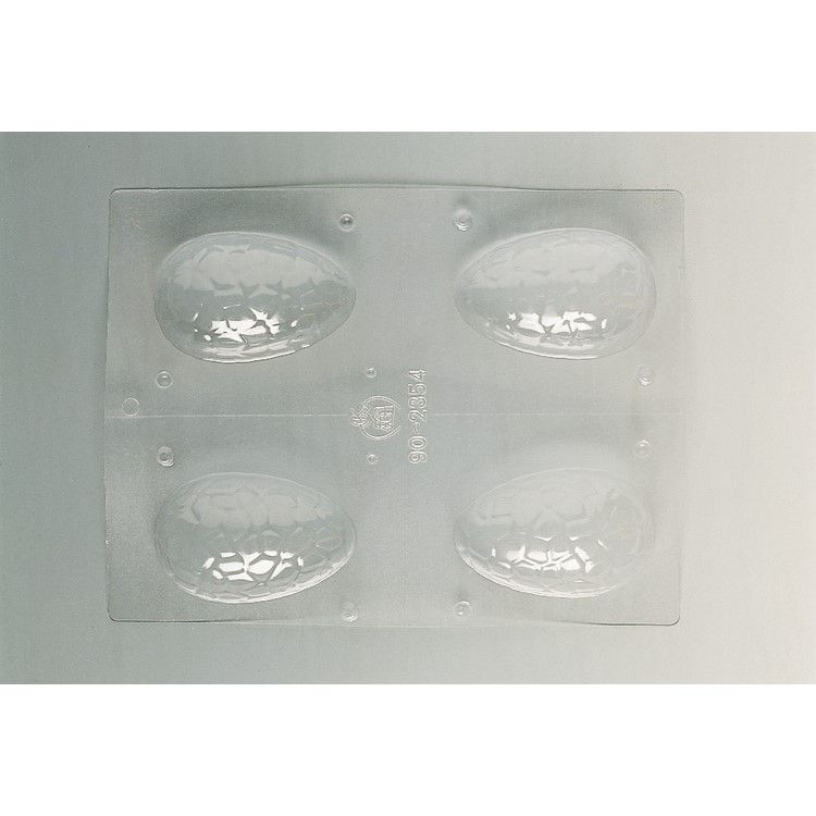 Plaque de 240 x 185 mm 4 demi-coquilles craquelées 83 x 54 x h 24 mm