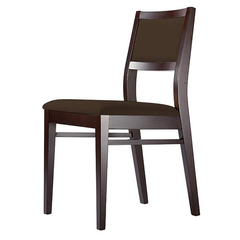 Chaise justina - coloris wengé assise et dossier chocolat (photo)