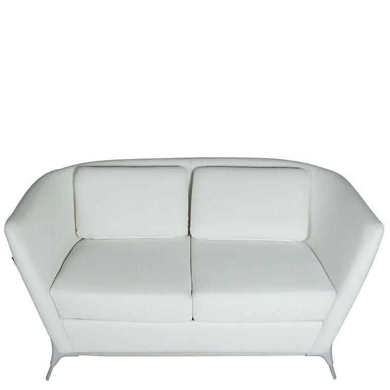 Canapé 2 places olympe coloris blanc - simili cuir (photo)