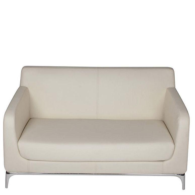 Canapé 2 places venus coloris ivoire - simili cuir (photo)