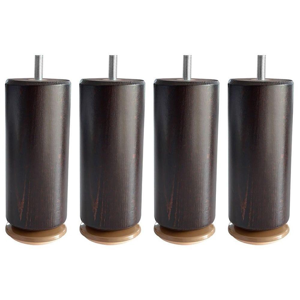 Lot de 4 pieds cylindriques epeda 15 cm - coloris wengé (photo)