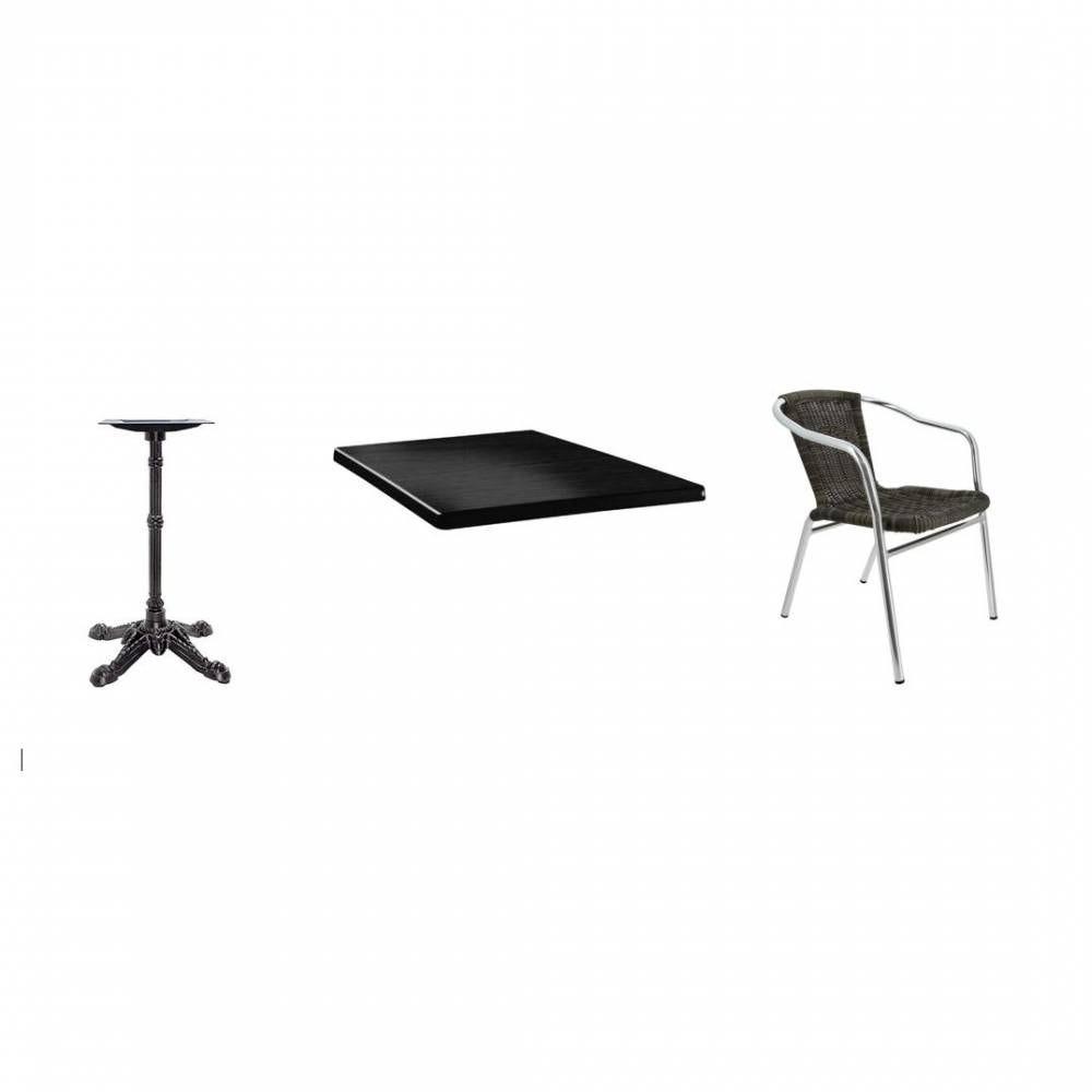 27 tables -pied fonte & plateau noir + 36 chaises alu assise tressé gris foncé (photo)
