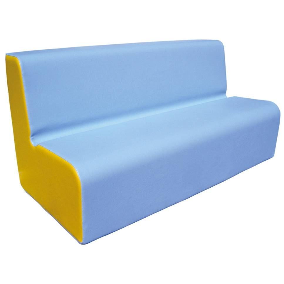 Canapé 200 bleu clair et jaune avec bords arrondis 200 x 45 cm et hauteur 50 cm (photo)