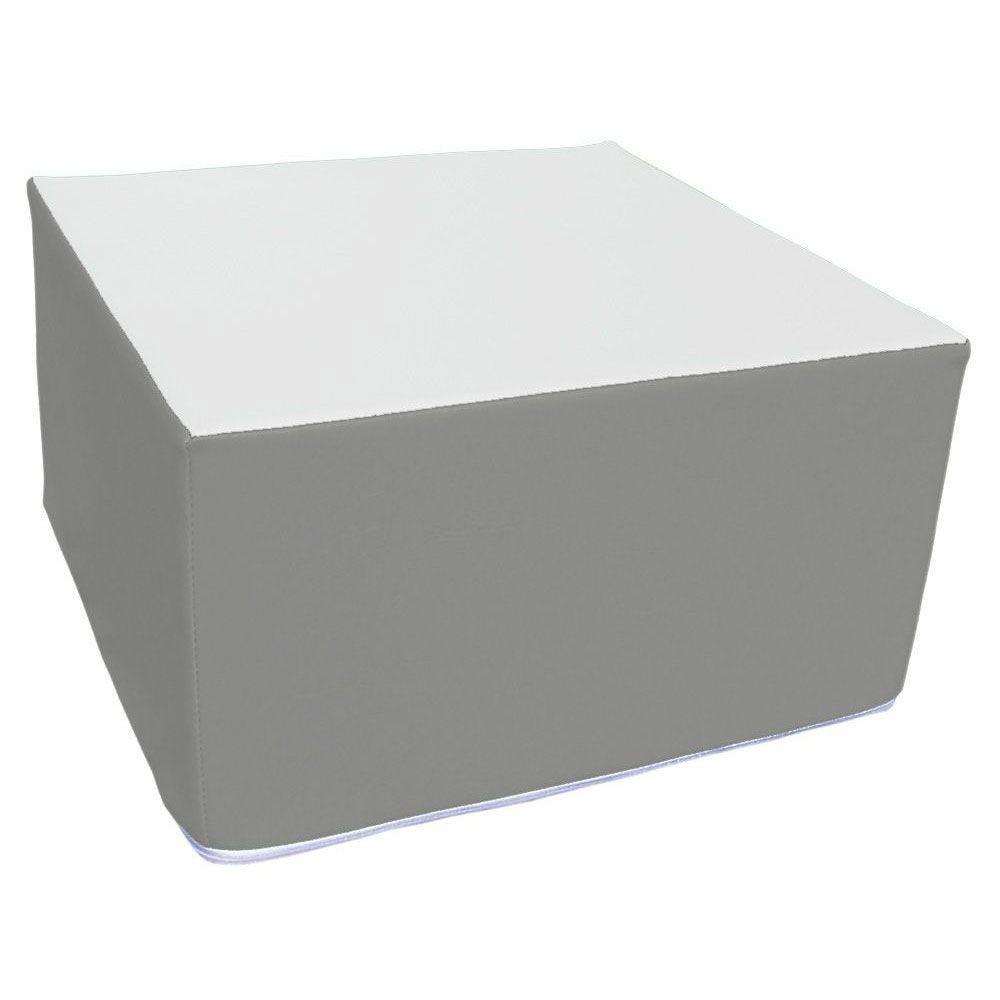 Assise carrée en mousse gris et blanc 45 x 45 cm et hauteur 25 cm (photo)