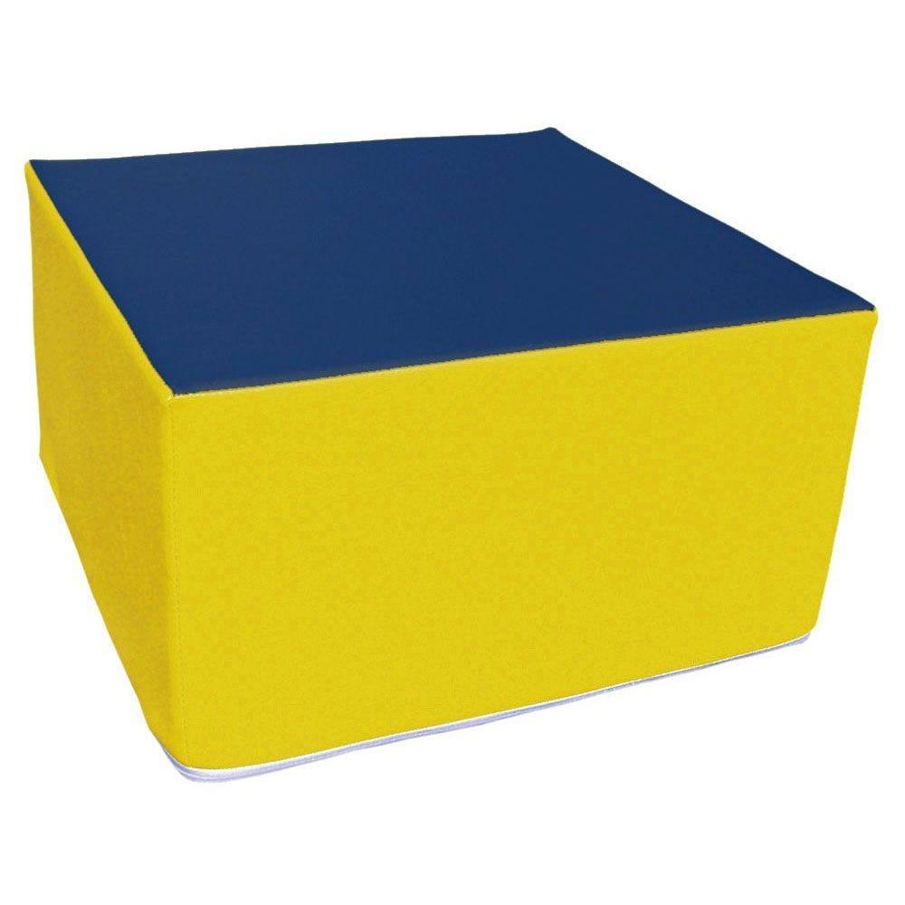 Assise carrée en mousse jaune et bleu foncé 45 x 45 cm et hauteur 25 cm (photo)