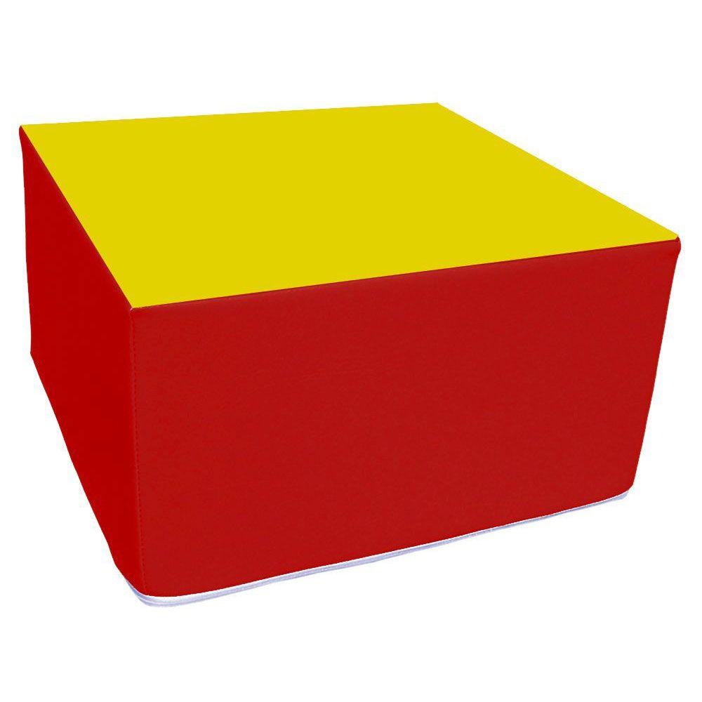 Assise carrée en mousse rouge et jaune 45 x 45 cm et hauteur 25 cm (photo)