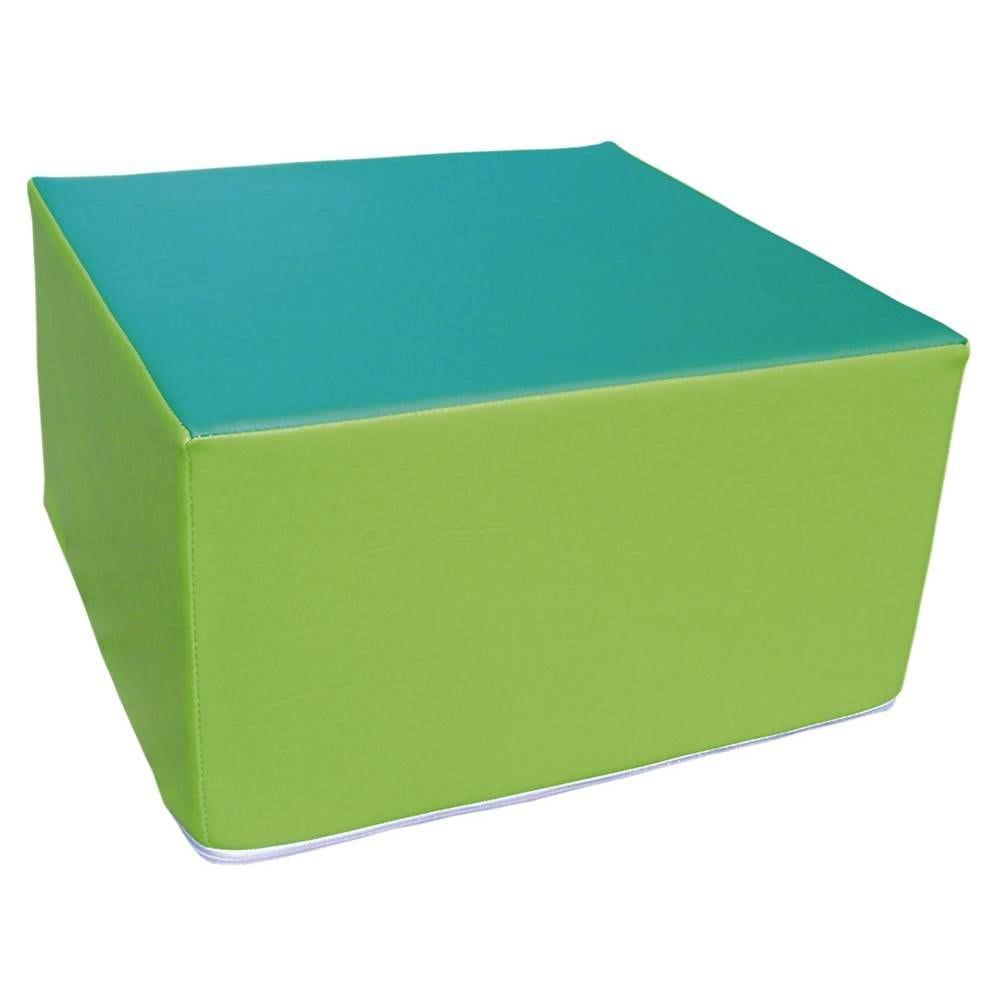 Assise carrée en mousse vert clair et vert foncé 45 x 45 cm et hauteur 25 cm (photo)