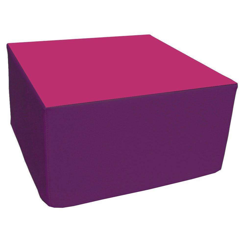 Assise carrée en mousse violet et rose 45 x 45 cm et hauteur 25 cm (photo)