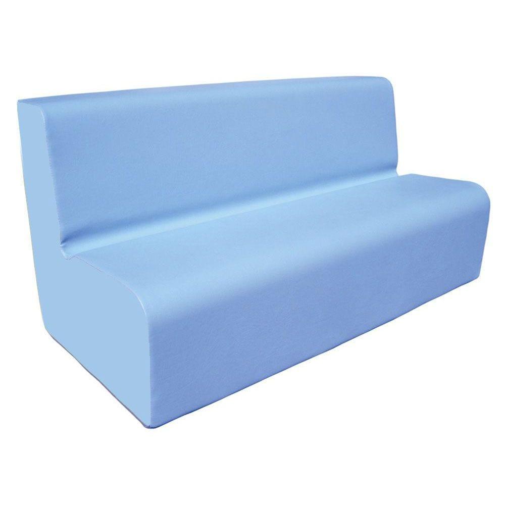 Canapé 150 bleu clair avec bords arrondis 150 x 45 cm et hauteur 50 cm (photo)