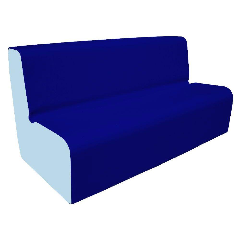Canapé 150 bleu foncé et clair avec bords arrondis 150 x 45 cm et hauteur 50 cm (photo)