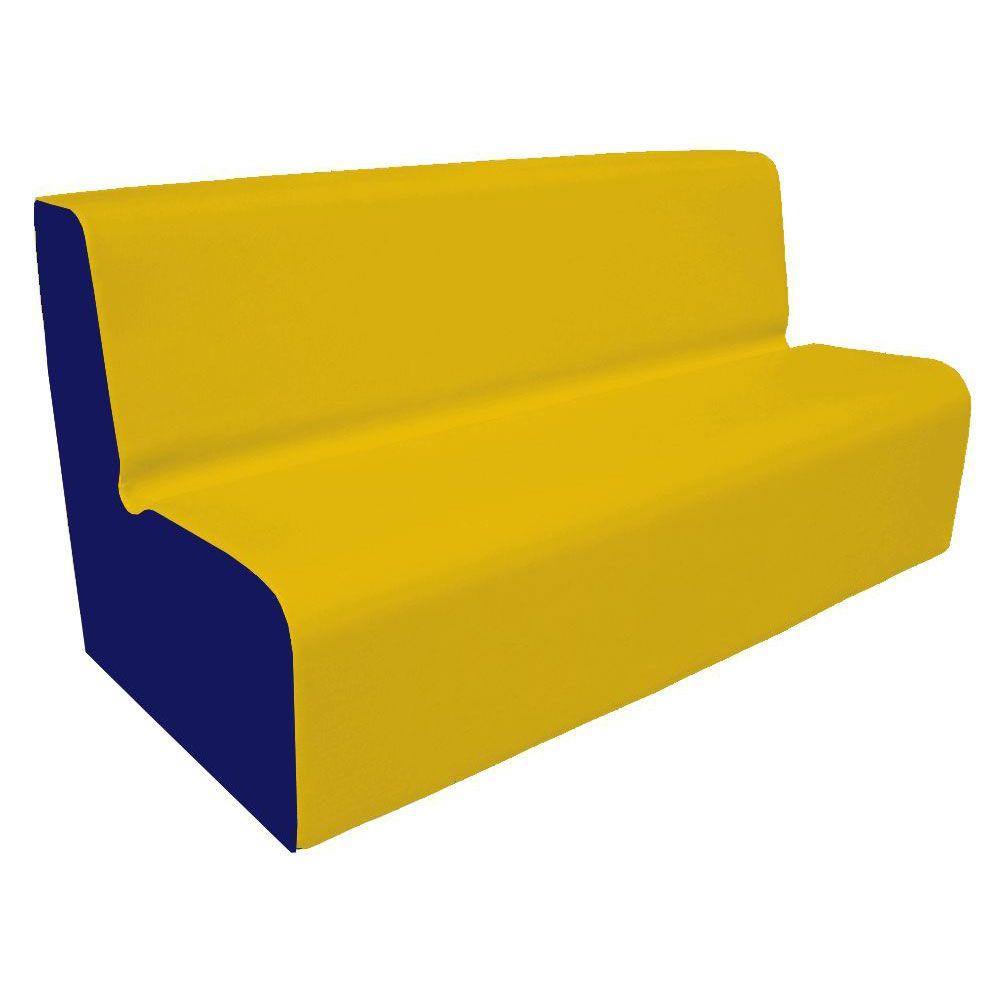 Canapé 150 jaune et bleu foncé avec bords arrondis 150 x 45 cm et hauteur 50 cm (photo)