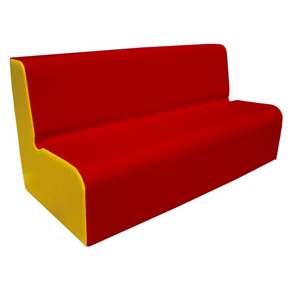 Canapé 150 rouge et jaune avec bords arrondis 150 x 45 cm et hauteur 50 cm (photo)