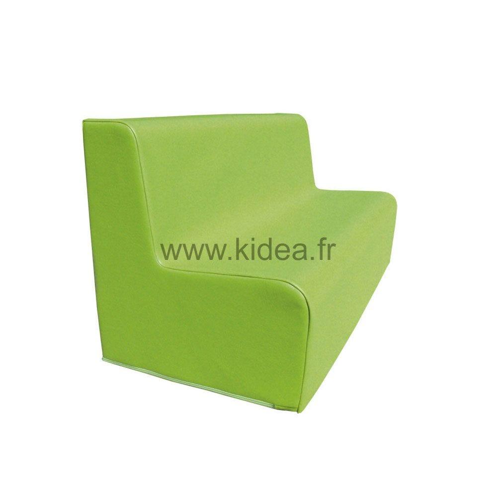 Canapé 150 vert clair avec bords arrondis 150 x 45 cm et hauteur 50 cm (photo)