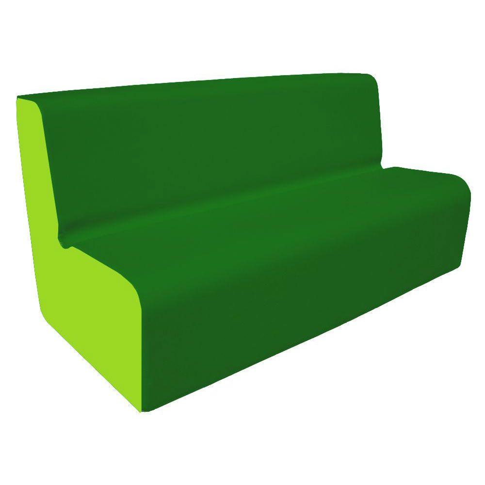 Canapé 150 vert foncé et clair avec bords arrondis 150 x 45 cm et hauteur 50 cm (photo)