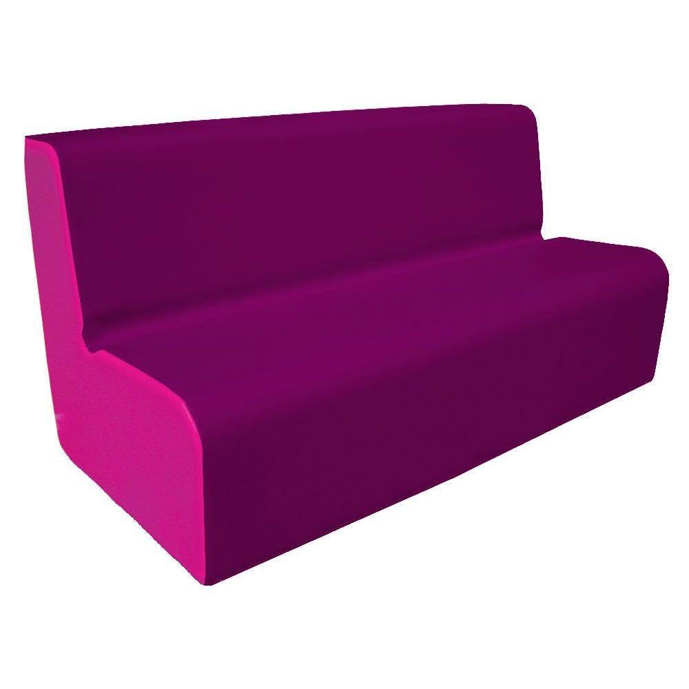 Canapé 150 violet et rose avec bords arrondis 150 x 45 cm et hauteur 50 cm (photo)