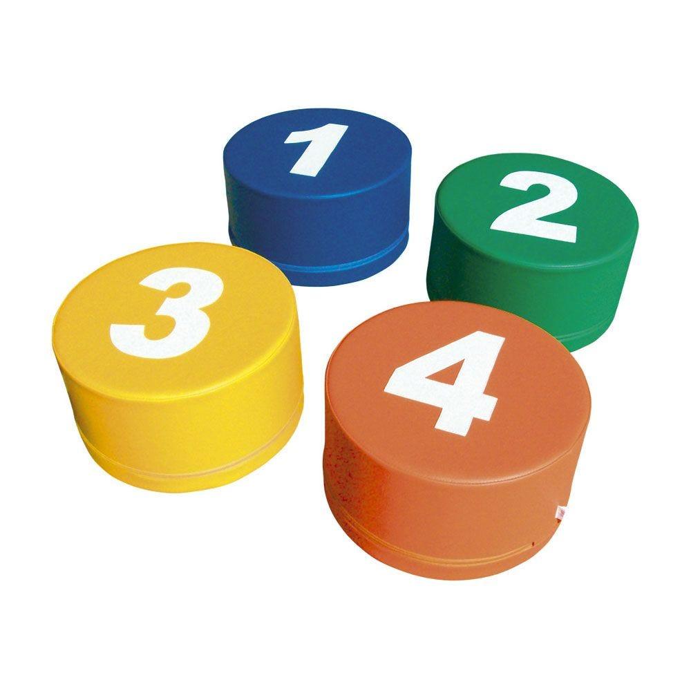 4 assises en mousse - motifs nombres (photo)