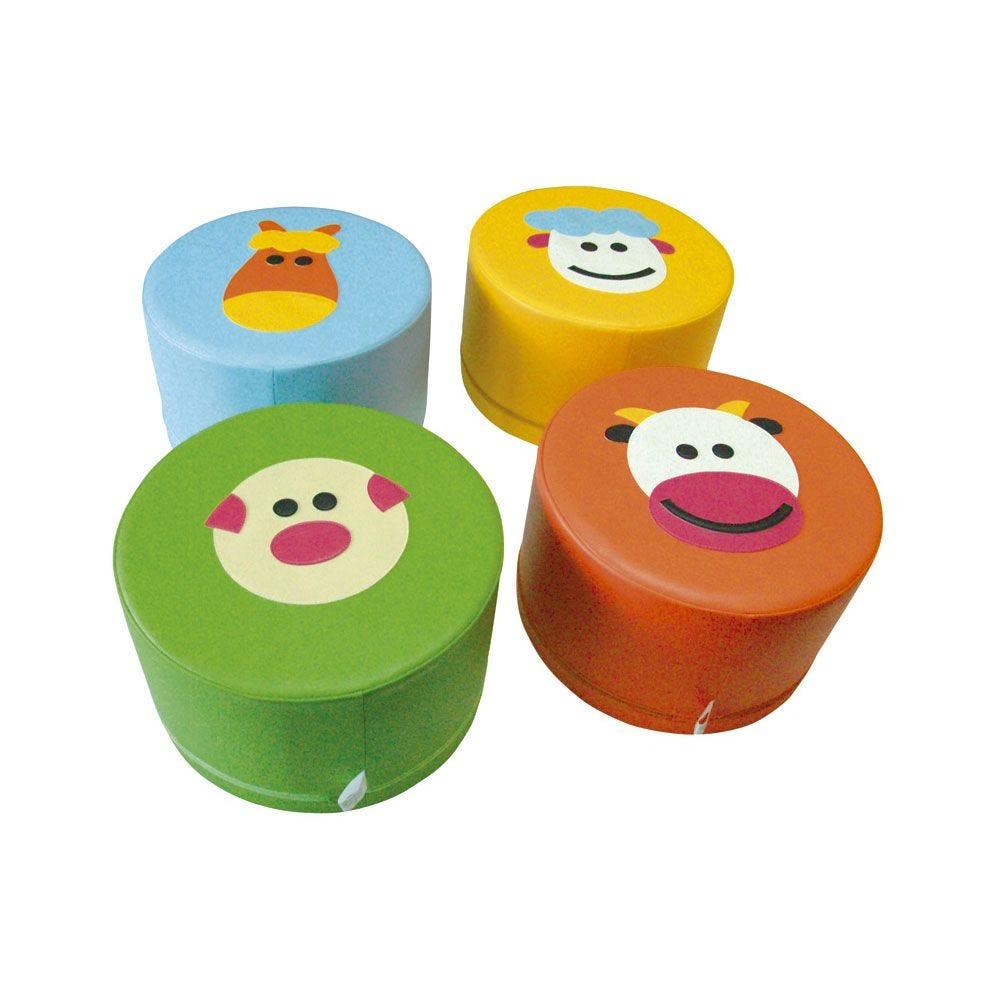 4 assises en mousse - motifs animaux de la ferme (photo)