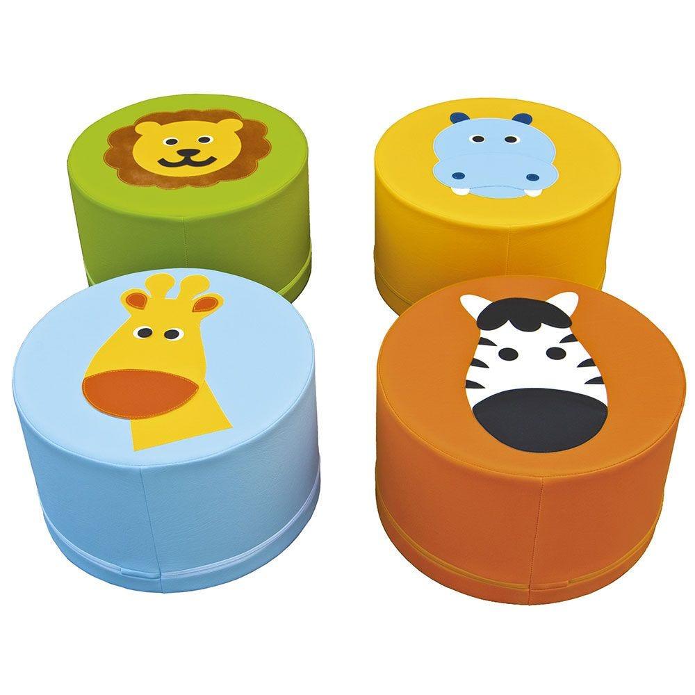 4 assises en mousse - motifs animaux de la jungle (photo)
