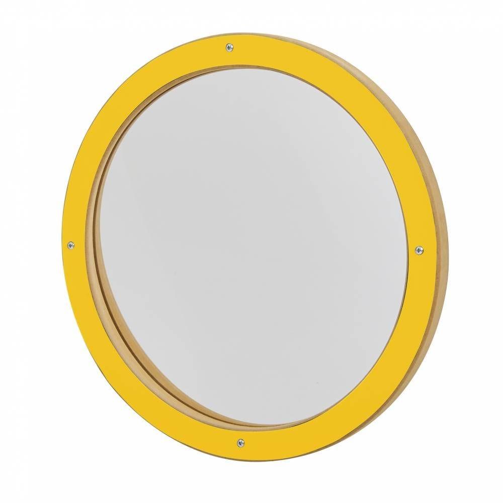 Miroir déformant rond jaune (photo)