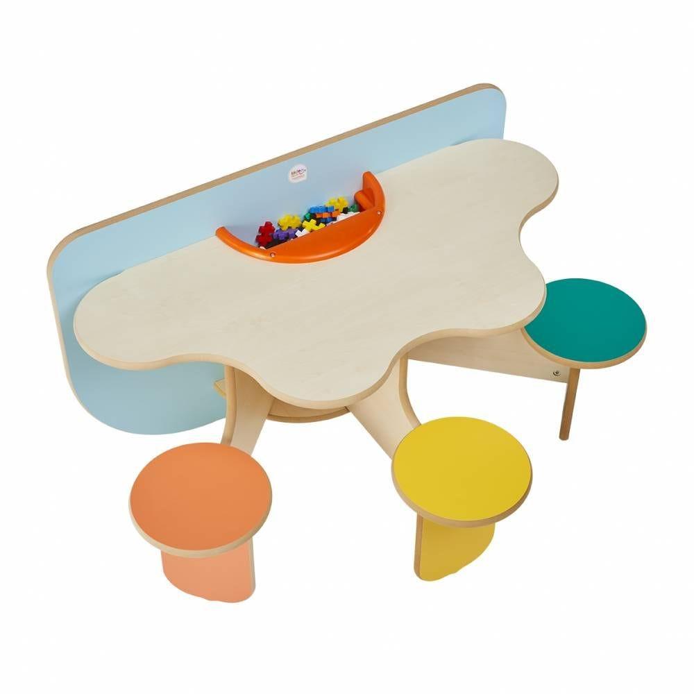 Table à jouer trèfle colors avec bac à jouets pour 3 enfants (photo)