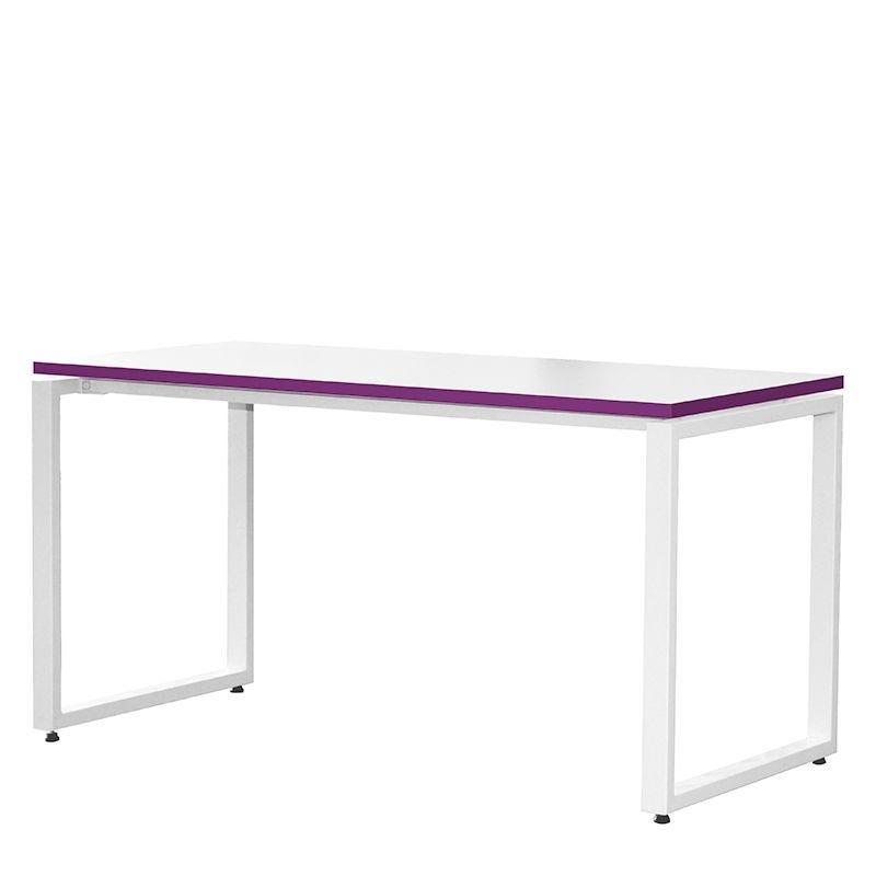 Bureau bench 120x67 cm blanc/prune