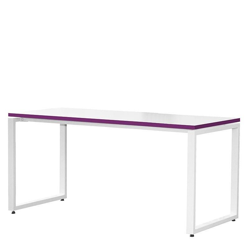 Bureau bench 134x67 cm blanc/prune - bout de bureaux